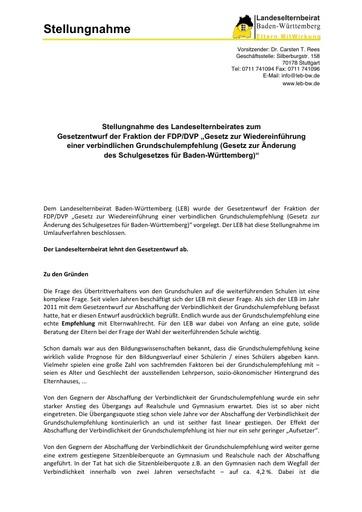"""Stellungnahme zum Gesetzentwurf der Fraktion der FDP/DVP """"Gesetz zur Wiedereinführung einer verbindlichen Grundschulempfehlung"""""""