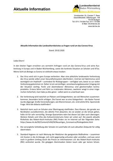 Aktuelle Information des Landeselternbeirates zu Fragen rund um das Corona-Virus