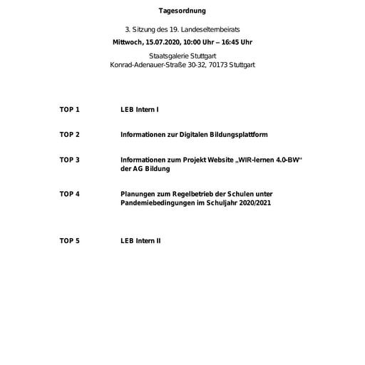 Tagesordnung 15.07.2020