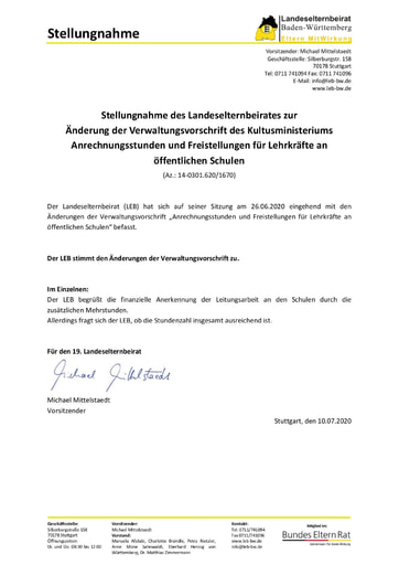 """Stellungnahme zur Änderung der Verwaltungsvorschrift """"Anrechnungsstunden und Freistellungen für Lehrkräfte an öffentlichen Schulen"""""""