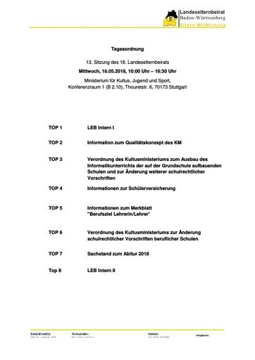Tagesordnung 16.05.2018