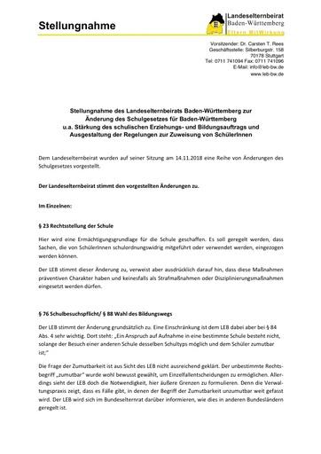 Stellungnahme zur Änderung des Schulgesetzes, Zuweisung von SchülerInnen