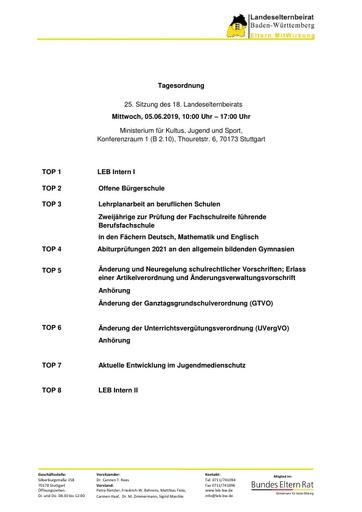 Tagesordnung 05.06.2019