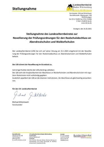 Stellungnahme zur Novellierung der Prüfungsordnungen für den Realschulabschluss an Abendrealschulen und Waldorfschulen