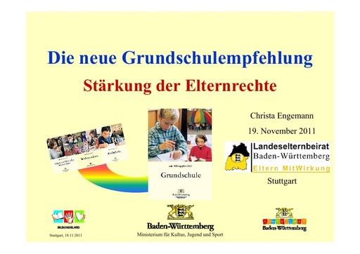 Präsentation des KM zum Wegfall der verbindlichen Grundschulempfehlung