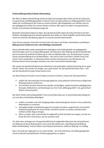 Petition Bildungsqualität