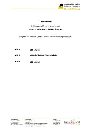 Tagesordnung 16.12.2020