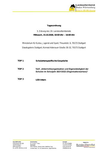 Tagesordnung 15.10.2020