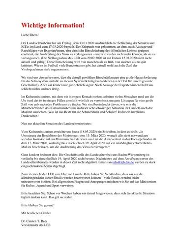 Aktualisierte Info zur Coronakrise und Erreichbarkeit der Geschäftsstelle