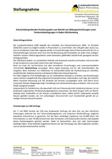 Positionspapier zum Betrieb von Bildungseinrichtungen unter Pandemiebedingungen