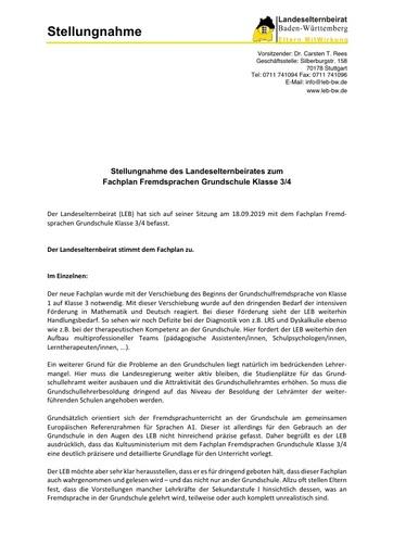 Stellungnahme zum Fachplan Fremdsprachen Grundschule Klasse 3/4