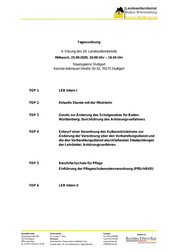Tagesordnung 25.09.2020