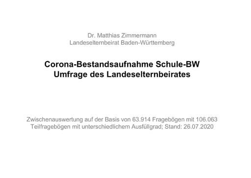 Corona-Bestandsaufnahme Schule-BWUmfrage des Landeselternbeirates