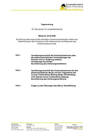 Tagesordnung 22.04.2020 Corona Telko Vorstand