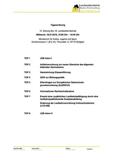 Tagesordnung 18.07.2018
