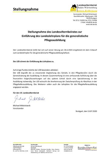 Stellungnahme zur Einführung des Landeslehrplans für die generalistische Pflegeausbildung