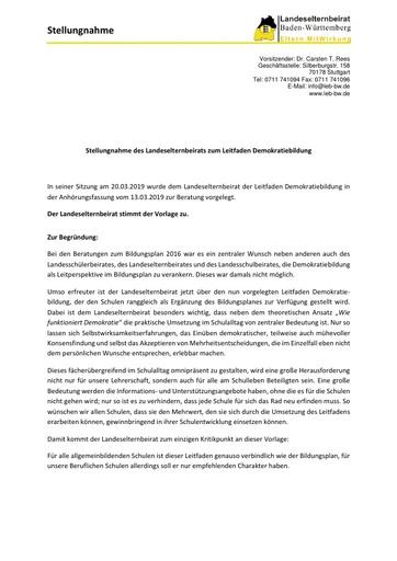 Stellungnahme zum Leitfaden Demokratiebildung