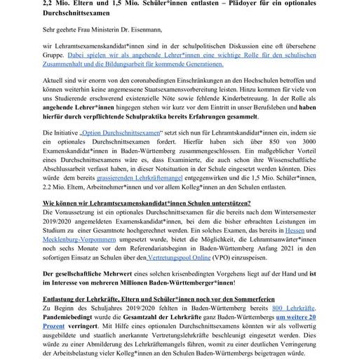 Offener Brief der Lehramtsexamenskandidat*innen an Frau Dr. Eisenmann vom 18.06.2020