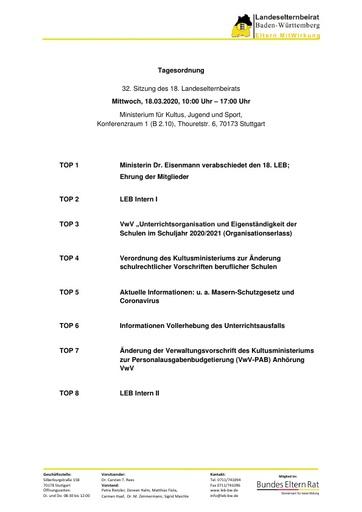 Tagesordnung 18.03.2020