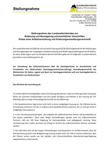 Stellungnahme zur Änderung und Neuregelung schulrechtlicher Vorschriften Erlass einer Artikelverordnung und Änderungsverwaltungsvorschrift