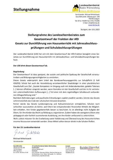 Stellungnahme zum Gesetzentwurf der Fraktion der AfD
