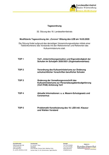 Tagesordnung 18.03.2020 Corona