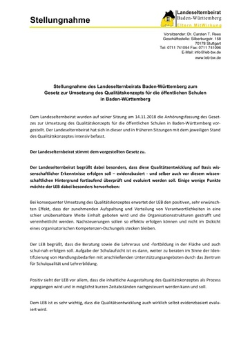 Stellungnahme zum Qualitätskonzept für die öffentlichen Schulen