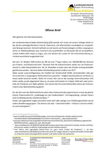 Offener Brief an den Ministerpräsidenten vom 03.01.2021