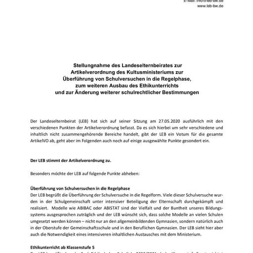 Stellungnahme zur Artikelverordnung, Schulversuche, Ethikunterricht