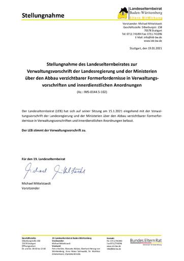 Stellungnahme zur Verwaltungsvorschrift über den Abbau verzichtbarer Formerfordernisse