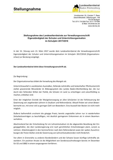 Stellungnahme zum Organisationserlass 2017/18