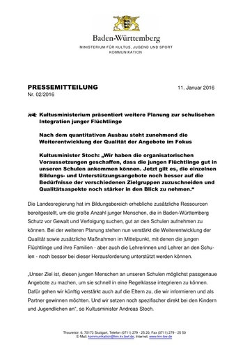 Pressemitteilung zur Integration junger Flüchtline