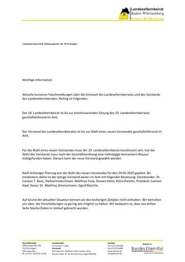 Info zu Falschmeldungen bezüglich Amtszeit und Vorstandschaft