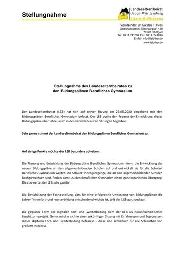 Stellungnahme zu den Bildungsplänen Berufliches Gymnasium