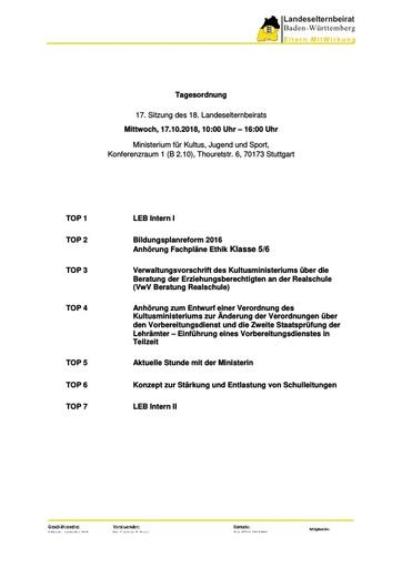 Tagesordnung 17.10.2018