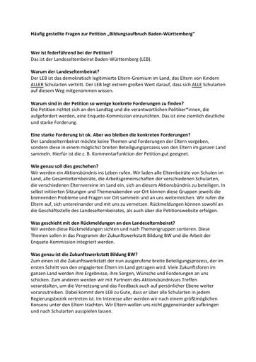 FAQ zur Petition Bildungsqualität