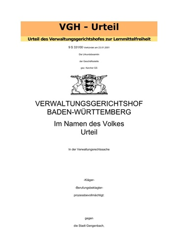 Verwaltungsgerichtshof Mannheim: Urteil zur Lernmittelfreiheit