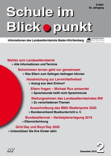 SiB, Schuljahr 2019/20, Nr 2, Dezember 2019, Wahlen zum 19. Landeselternbeirat