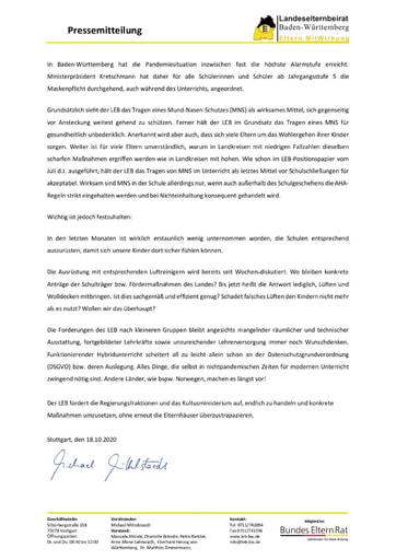 Pressemitteilung Coronamaßnahmen