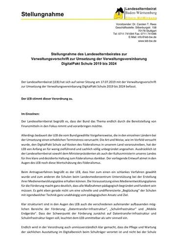 Stellungnahme zur Verwaltungsvorschrift zur Umsetzung der Verwaltungsvereinbarung DigitalPakt Schule 2019 bis 2024